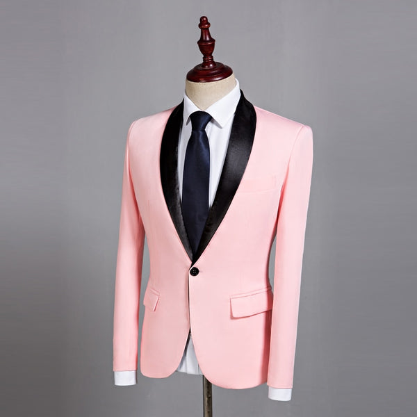 Mens Classic Black Shawl Lapel Pink Casual Blazer DJ Party Stage Singer Wedding Grooms Slim Fit Suit Jacket Costume Homme