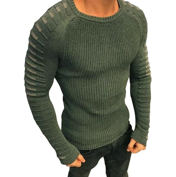 Men Casual Warm Slim Sweater Knitted Striped Long Sleeve
