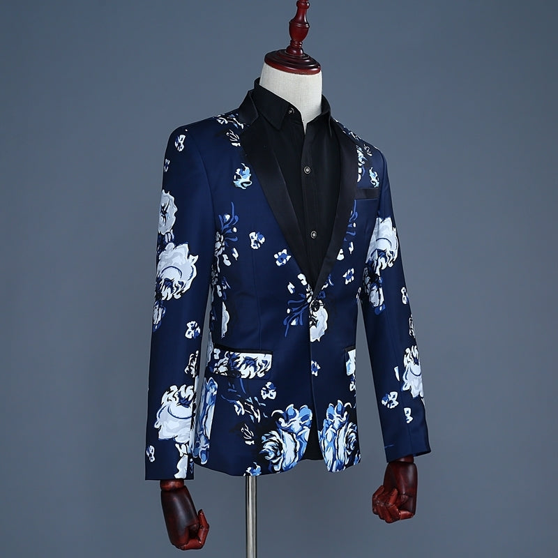 Tide Men Navy Blue Floral Print Fashion Casual Suits Latest Coat Pant Designs Wedding Groom Stage Costume