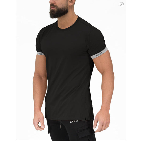 men T shirt Fitness bodybuilding casual short sleeve o-neck