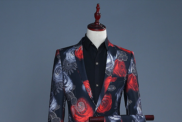 men party rose printed the groom's best man suit dress suit performance male MC Host studio theme suit Two pieces of