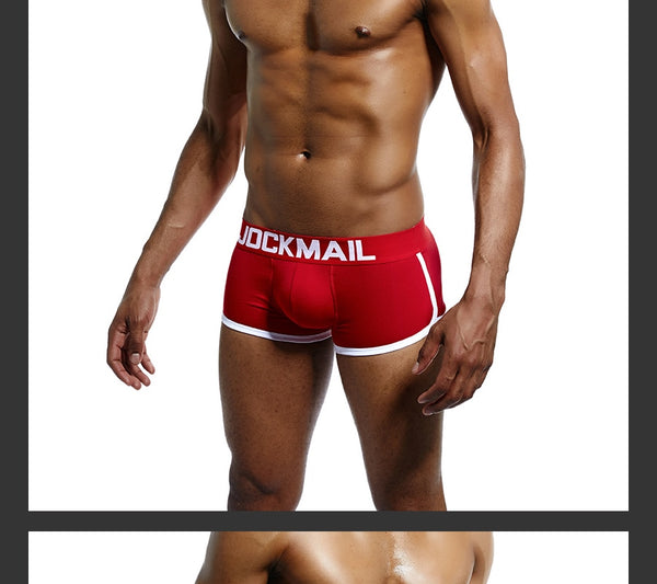 Mens Underwear Boxers Trunks with Sexy Gay Penis Pouch Bulge Enhancing Front + Back Double Removable Push Up Cup