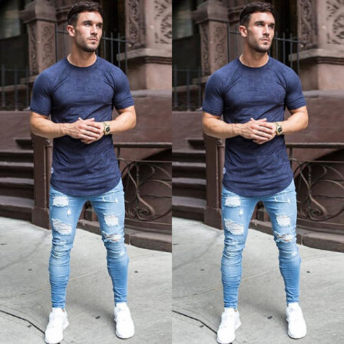 Mens Stretchy Ripped Skinny Biker Jeans Destroyed Taped Slim Fit Denim Pant Vintage Hole Pencil Trousers