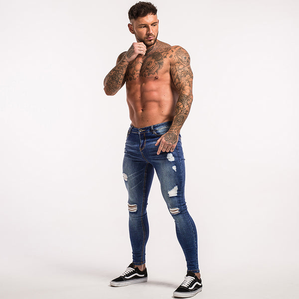 ripped Jeans for Men Super Stretch men Jeans skinny fit Street Wear