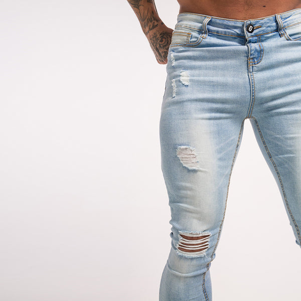 Skinny Jeans For Man Jeans Destroyed Denim Jeans With Chain Men