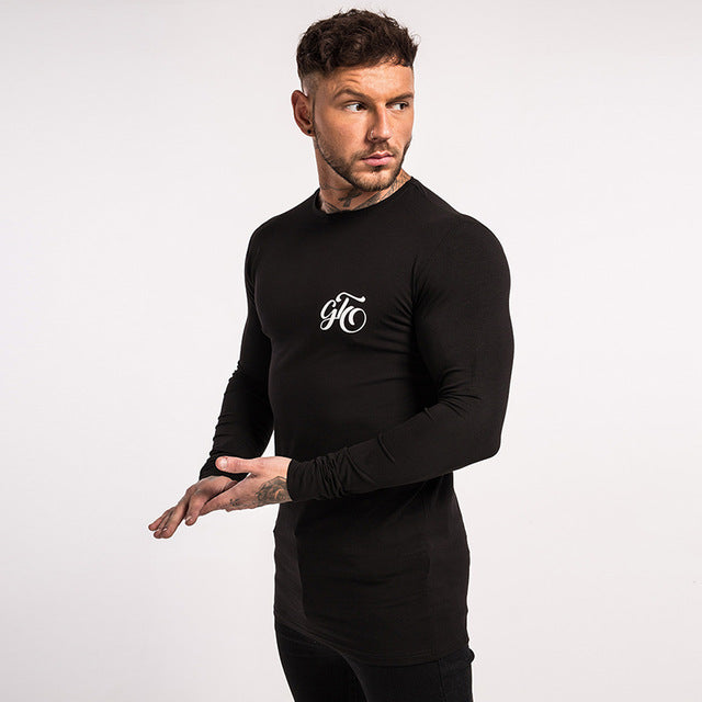 Long Sleeve T Solid Shirt Men Cotton Spandex Black Hip Hop Street