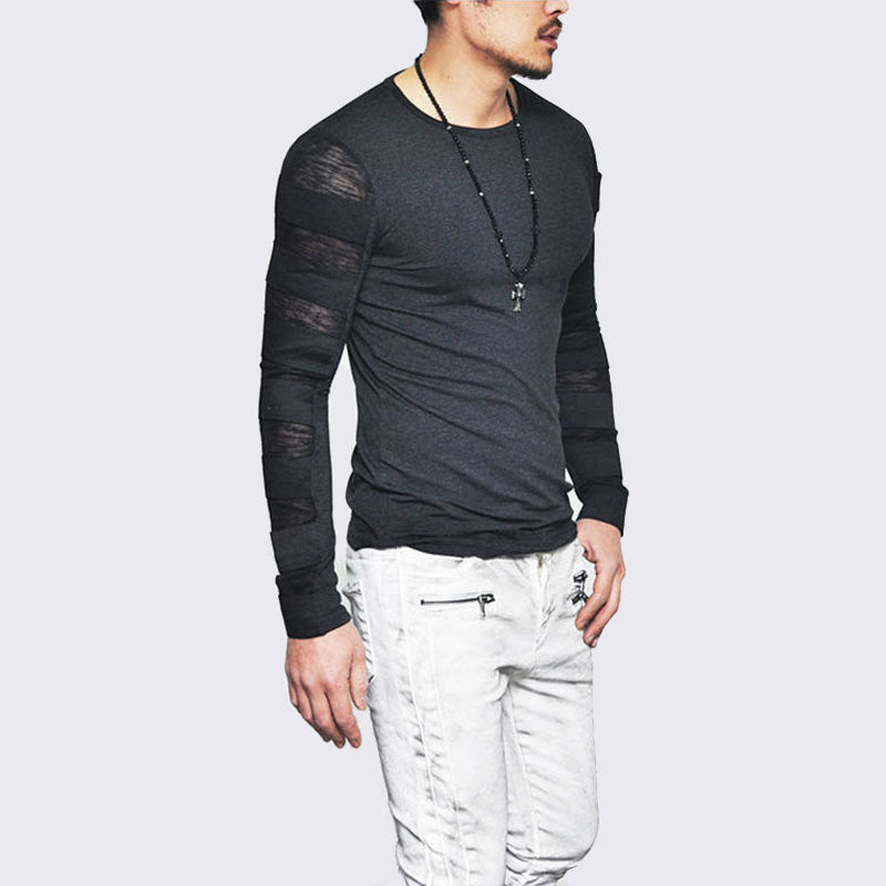 Men Elastic Bandage Strap Long sleeve t shirt Slim Fit hip hop t-shirt men funny tshirt streetwear