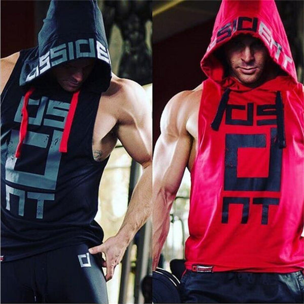Men Hooded sleeveless undershirt cotton Man vest waistcoat sleeveless tank top