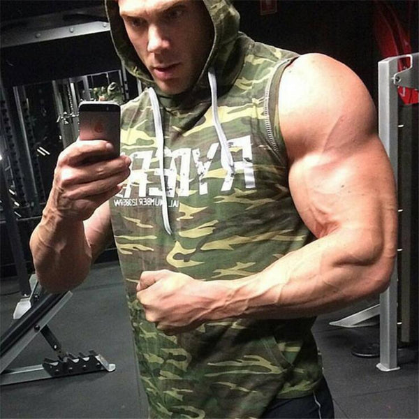 Men Cotton Hoodie Sweatshirts fitness clothes bodybuilding tank top