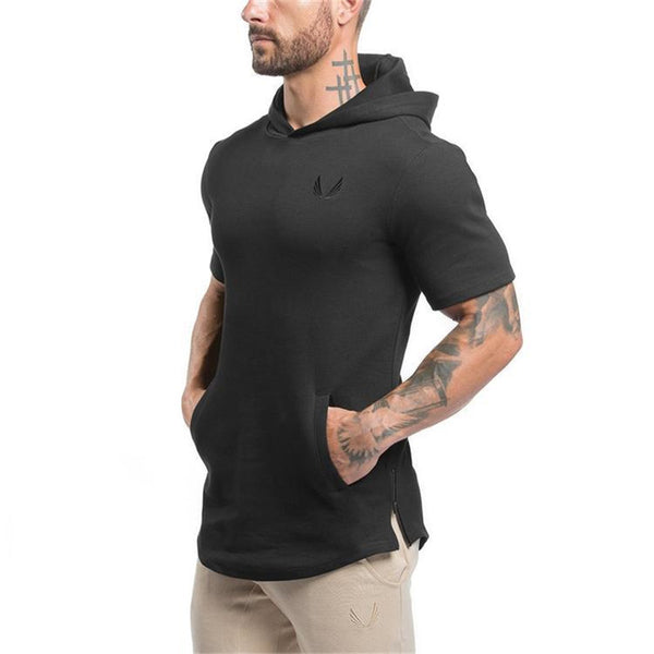 Men Clothing Bodybuilding Hoodies Sweatshirts Casual Gyms Hoody Short Sleeve Sweatshirt Men's Slim Fit Hooded Jackets
