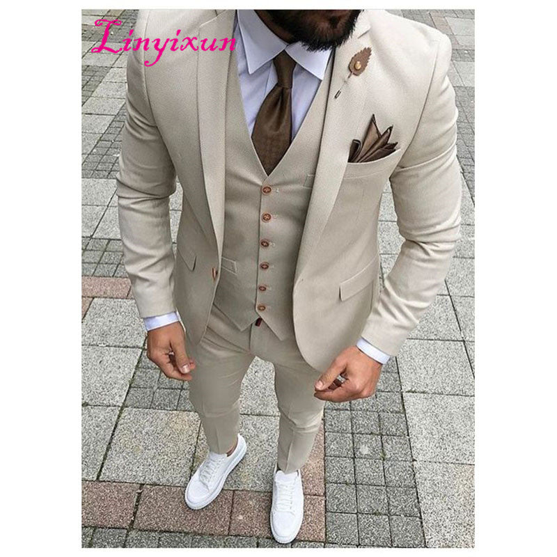 Men Suit Prom Slim Fit 3 Piece Groom Style mens Suits