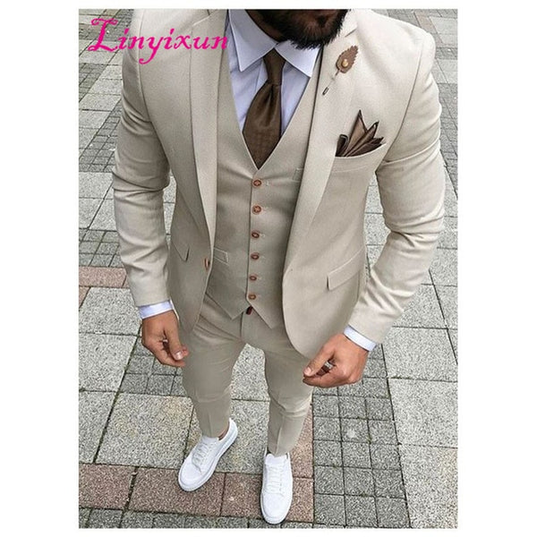 Latest Coat Pant Designs Beige Men Suit Prom Tuxedo Slim Fit 3 Piece Groom Style mens Suits Custom Blazer Terno