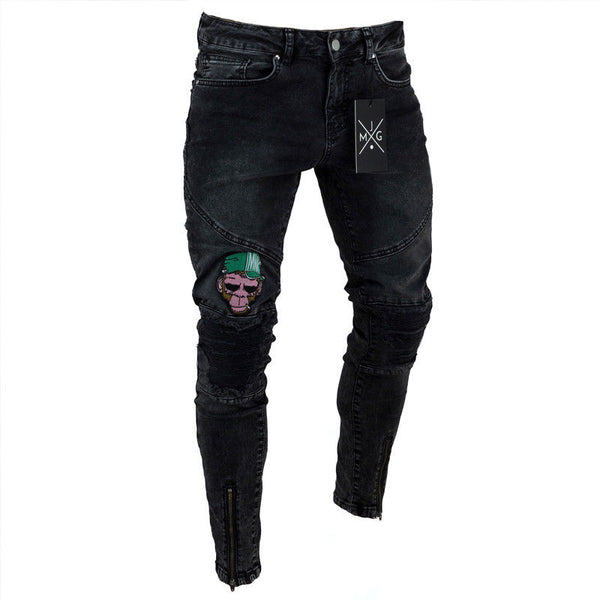 Fashion Mens Skinny Jeans Rip Slim fit Stretch Denim Distress Frayed Biker