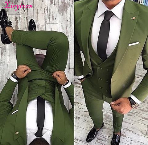 Green Men Suit Slim Fit 3 Piece Tuxedo Groom Style Suits Custom Prom Party Blazer Terno
