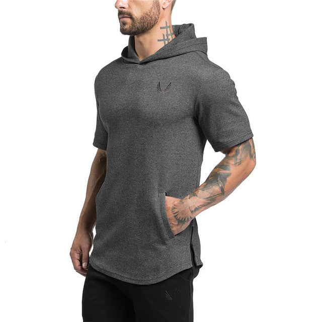 Male Bodybuilding Hoodies Fitness Clothes Hoody Cotton Hoodie Men Sweatshirts Men's Casual GYMS Short sleeved Solid Color Sweat