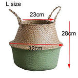 Hamdmake Flower Storage Basket pot Seagrass Rattan Laundry Basket Folding Woven Clothes Toy Sundries Home Storage Baskets