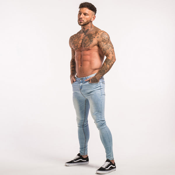 Skinny Jeans For Guys Stretch Jeans Light Blue Ripped Denim Jeans For Men Slim Fit Tight Pants
