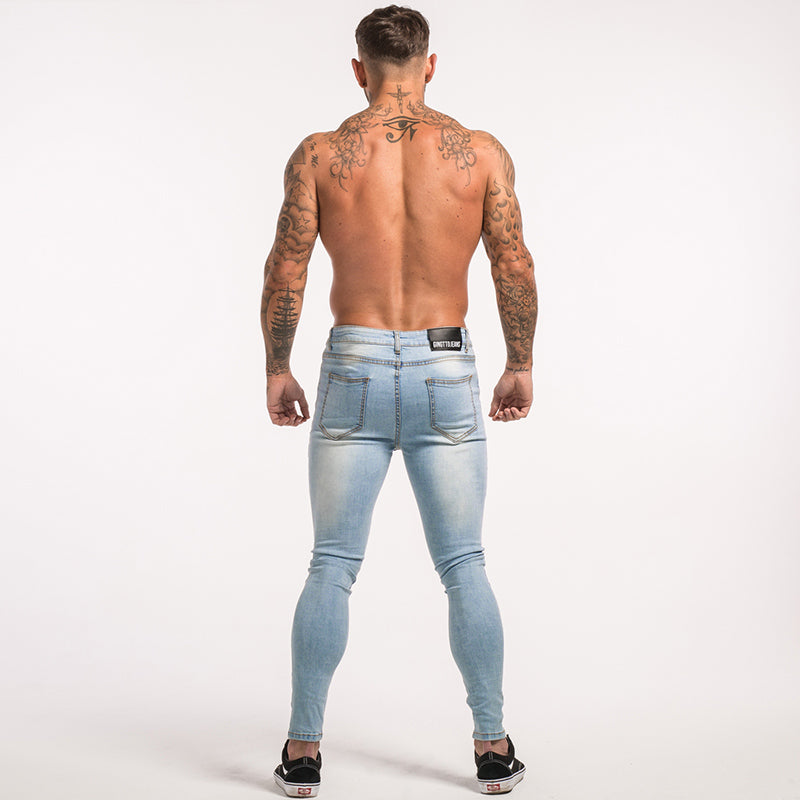 20f3265adc2 ... Skinny Jeans For Guys Stretch Jeans Light Blue Ripped Denim Jeans For Men  Slim Fit Tight ...