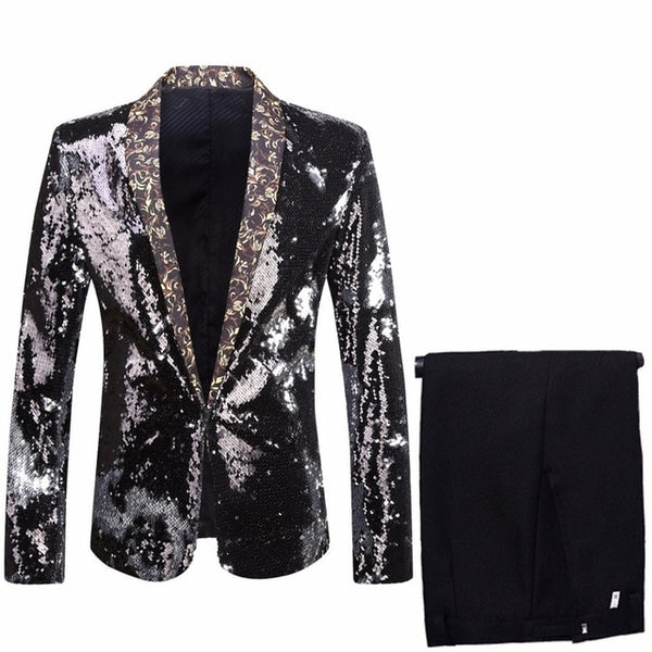 Mens Changing Double-Color Sequins Suits Black Royal Blue Green Purple Silver Red Gold Paillette Prom Tuxedo