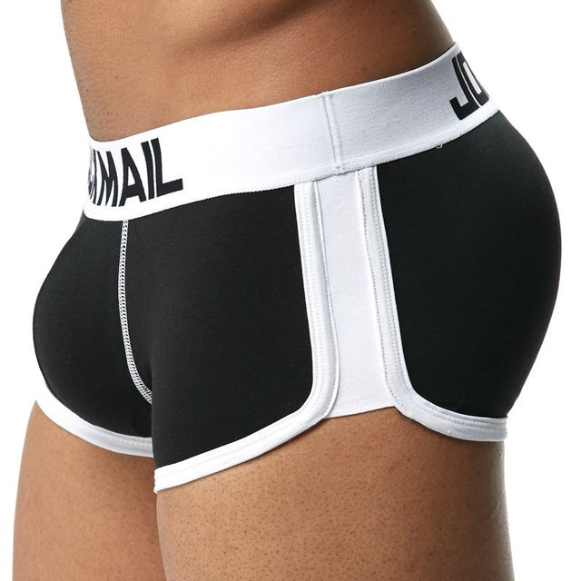 Enhancing Mens Underwear Boxers Trunks with Sexy Bulge Gay Penis Pouch  Front + Back Double Removable Push Up Cup