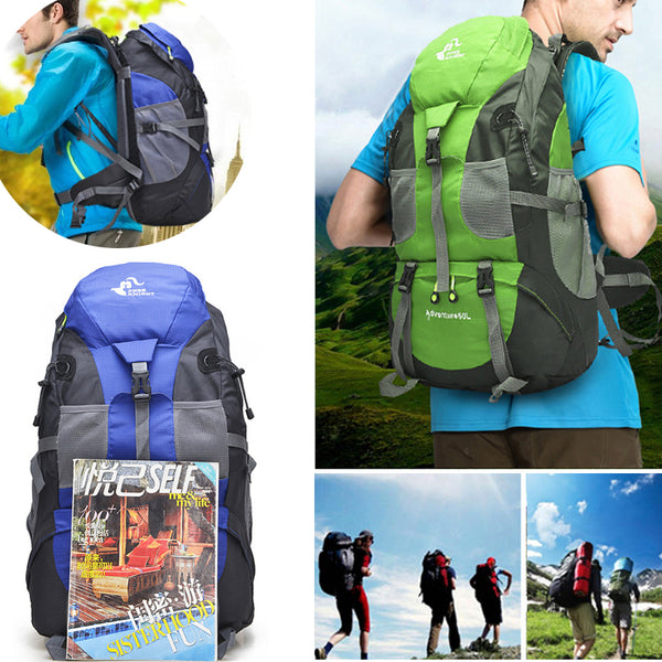 50L Large Waterproof Climbing Hiking Backpack Rain Cover Bag Camping Mountaineering Backpack Sports Outdoor Bike Bag
