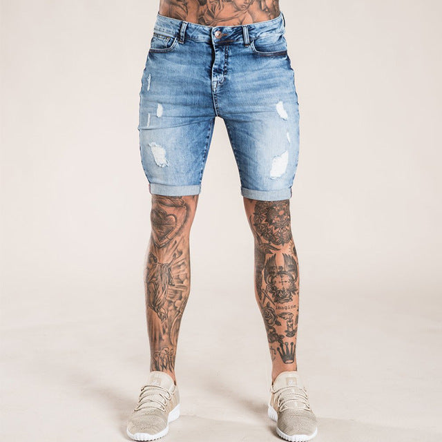 Skinny Shorts Ripped Repaired Distressed Jean Shorts Mens Guys Slim Fit