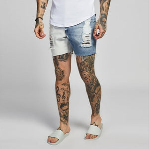 Mens Slim Shorts Ripped Distressed Shorts For Men Faded Slim Fit Short