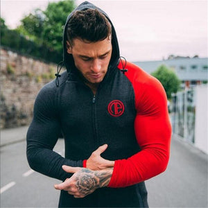 Fitness Mens Hooded Sweatshirts Bodybuilding Casual Cotton Long Sleeve Hoodies