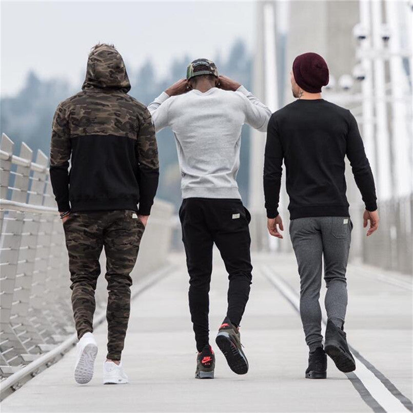 Men's Autumn Casual Fitness Clothing Gyms Healthy Fithess T shirt