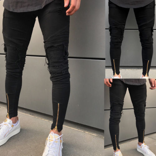Men Denim Jeans Skinny Frayed Pants slim fit