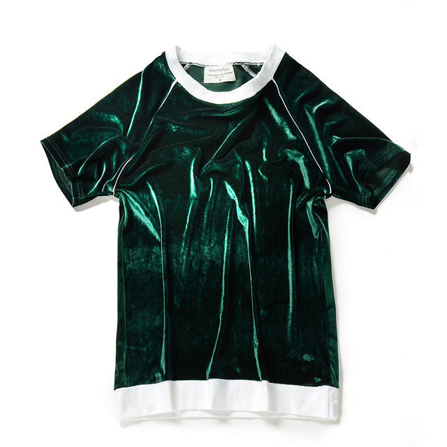 Men T-Shirt In Velour With Rib Hem