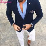 Navy Handsome Wedding Groomsmen Suits Party Prom Suit (Jacket+Pants)