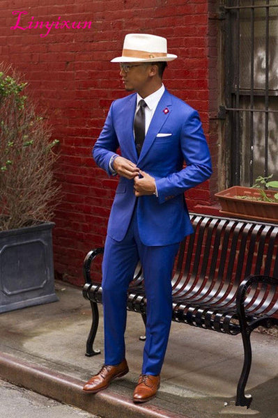 men suits Slim Fit Vintage Wedding Prom Men Suit ( jacket+Pants)