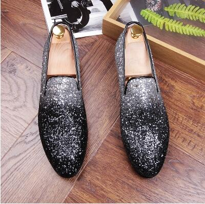 Mens Gold Shoes Fashion Casual Nightclub Bars Party Superstar Shoes Slip-on