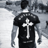 Men Jesus Christ cross Print T shirts Summer Bodybuilding Fitness