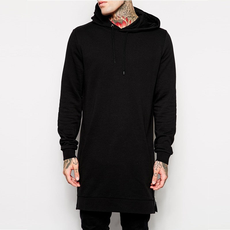 Fashion Men's Long Black Hoodies Sweatshirts Feece With Side Zip Longline Hip Hop Streetwear Shirt
