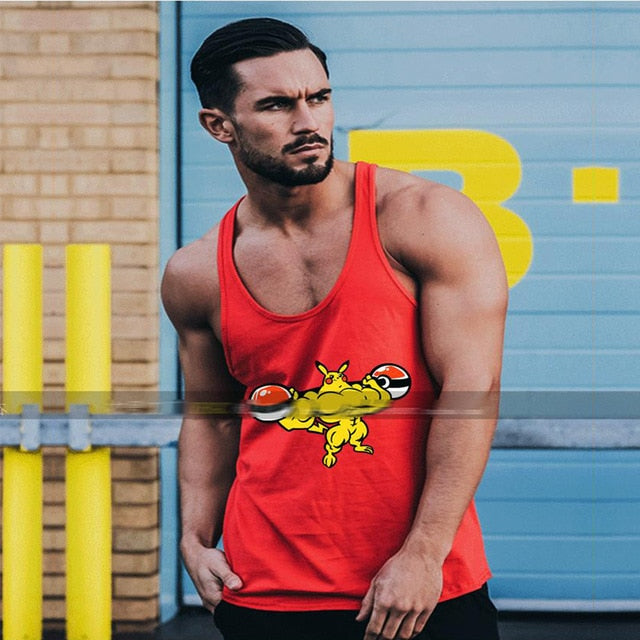 Anime Printed Gyms Tank Tops Mens Undershirt Sporting Wear Bodybuilding Men Fitness Exercise Clothing Vest Sleeveless Shirt