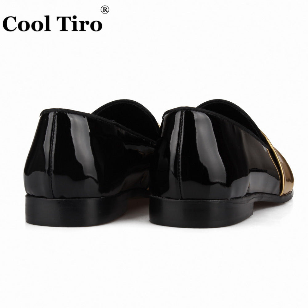 Black Patent leather Mens Loafers Gold belt SmokingSlippers Moccasins Men's Dress Shoes Wedding Flats Casual Shoes