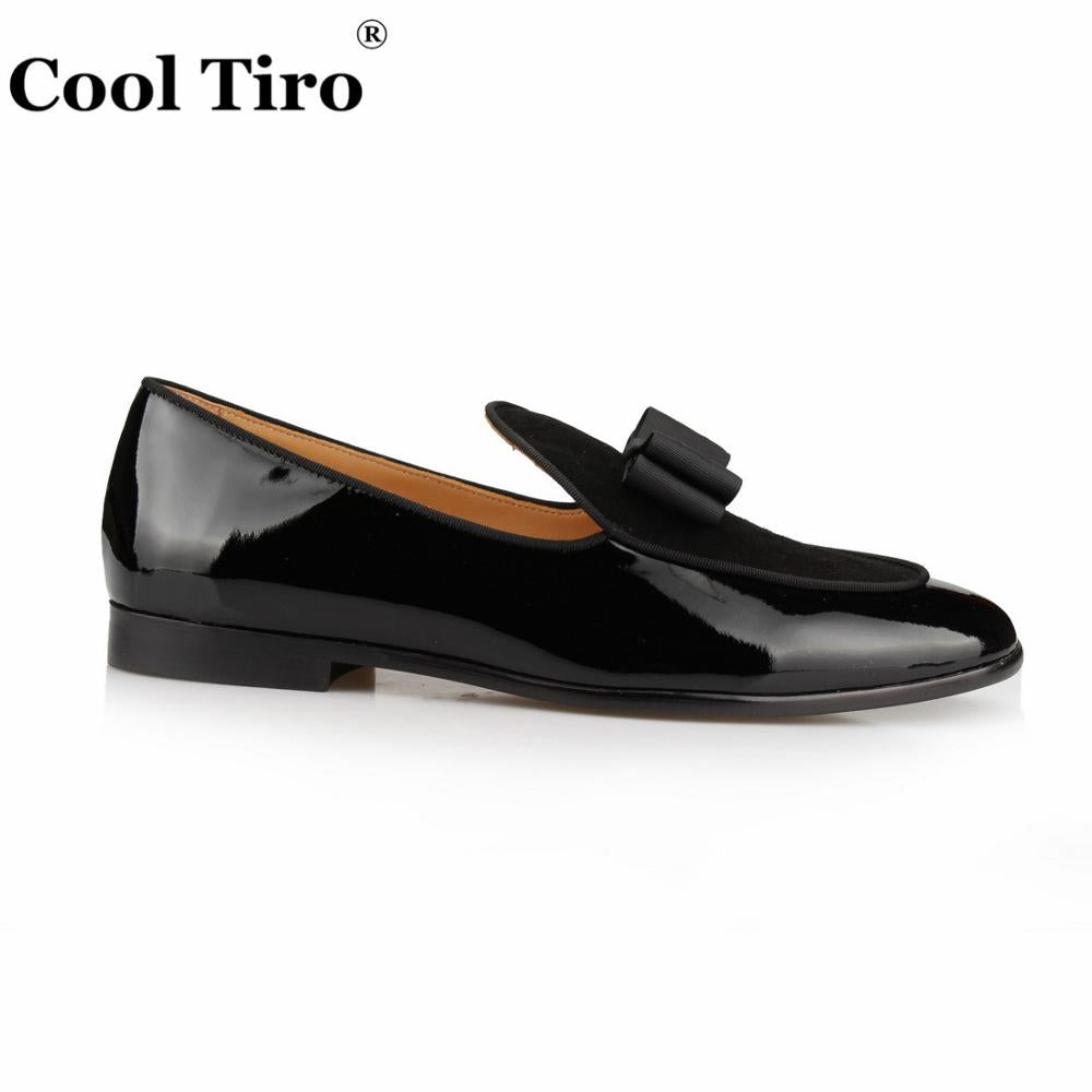 ea1c5c8495514 ... Loafers Patent leather Men Slippers Bow Tie Moccasins Man Flats Wedding  Men's Dress Shoes Casual Shoes ...