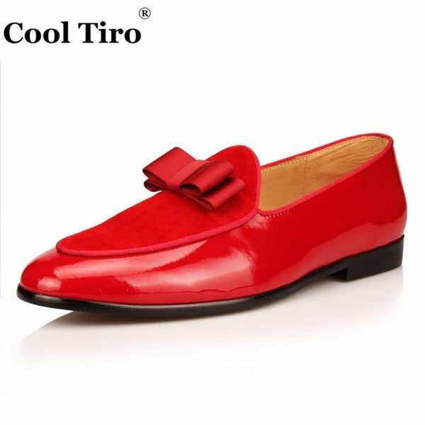 Loafers Patent leather Men Slippers Bow Tie Moccasins Man Flats Wedding Men's Dress Shoes Casual Shoes