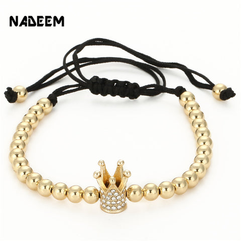 Fashion Men's Gold Color Imperial Micro Pave Crystal Crown Charm Bracelet Anil Arjandas Braiding Weave Bead Macrame Bracelet