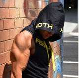 summer mens Sleeveless hoodies fashion Fitness GYMS sweatshirts muscle Fit slim cotton hoodies top