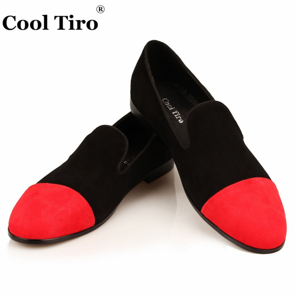 8e47909d716 Moccasins Men Loafers Black Red Suede Smoking Slippers Flats Casual Shoes  Wedding Party Men s Dress Shoes ...