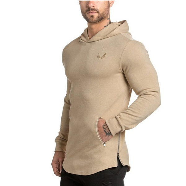 Men Hoodies Pocket Embroider Side Zipper Gyms Bodybuilding Sweatshirt Cotton Sweatshirts Hooded Pullover