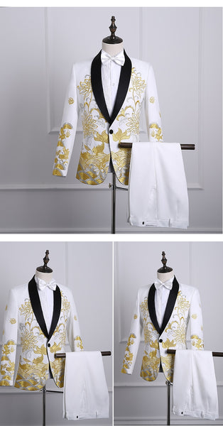 Male Shawl Lapel White Black Red Embroidered Prom Dress Suits Stage Singer Costume Homme Mens Suits With Pants