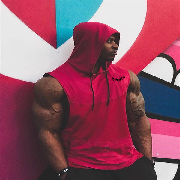 Men's Cotton Hoodie Sweatshirts Vest Fitness Bodybuilding Clothes Tank Top Sleeveless shirt undershirt Vest
