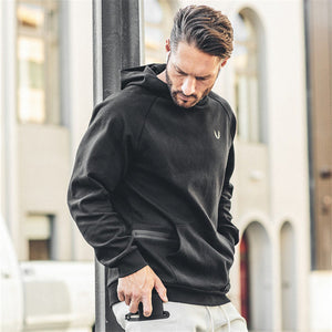 Men Big Zipper Hoodies Gyms Fashion Hoodie Bodybuilding Fitness Sportwear Casual Cotton Hooded Hoodies