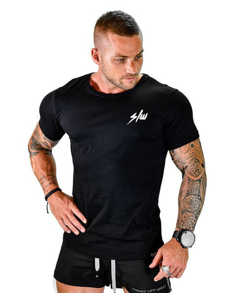 Men summer gyms T-Shirt Fitness Bodybuilding Shirts Cotton Crossfit workout Short Sleeve men T-Shirt male Brand Tees Tops