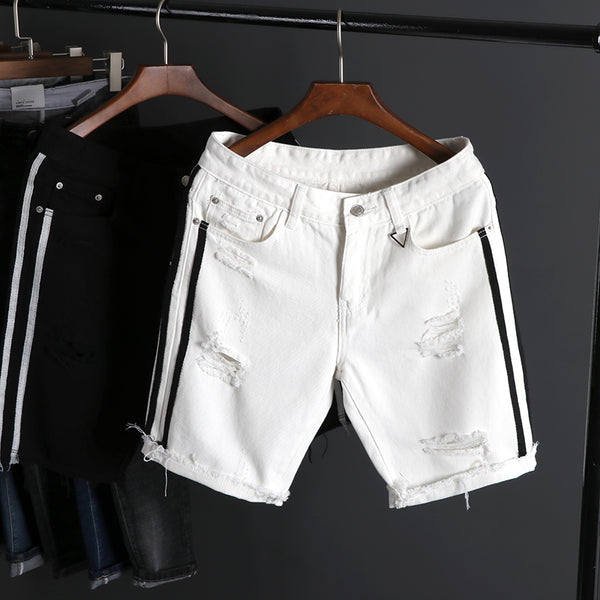 Summer Denim Shorts Slim Regular Casual Knee Length Short Hole Jeans Shorts New