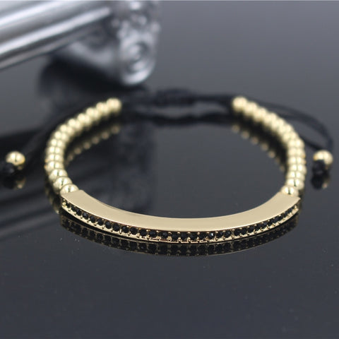 Fashion Gold Color Female Adjustable Bracelets & Bangles Anil Arjandas Micro Pave CZ Charm Braiding Macrame Bracelet Jewelry